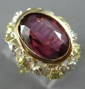 Antique Large 4.25ct Rose Cut Diamond And Tourmaline 14k Two Tone Gold Ring 25485