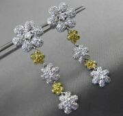 Estate Large 1.50ct Diamond 14kt White Gold Flower By The Yard Hanging Earrings