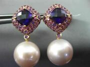 Large .87ct Aaa Amethyst And South Sea Pink Pearl 18kt Rose Gold Hanging Earrings