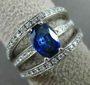 Estate Wide 1.77ct Diamond And Aaa Sapphire 14k White Gold 3d Oval Engagement Ring