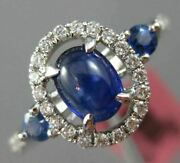 Antique Wide 1.24ct Diamond And Aaa Sapphire 18kt White Gold Oval Engagement Ring
