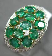 Extra Large 4.20ct Diamond And Aaa Emerald 14kt Two Tone Gold 3d Oval Cluster Ring