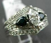 Estate Wide 1.55ct Diamond And Sapphire 14k White Gold 3d Marquise Engagement Ring