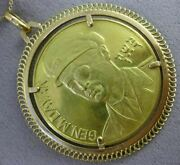 Estate Massive 22kt And 18kt Yellow Gold General Moshe Dayan Israeli Coin Pendant