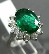 Estate Large 3.40ct Diamond And Emerald 14k White Gold Flower Halo Engagement Ring
