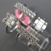 Large .74ct Round And Baguette Diamond 18kt White Gold 3d Square Rectangular Ring