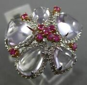 Estate Large 7.97ct Diamond And Pink Sapphire Amethyst 14kt White Gold Flower Ring
