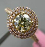 Estate 1.08ct Yellow And Pink Diamond 18k Yellow Rose Gold Classic Engagement Ring