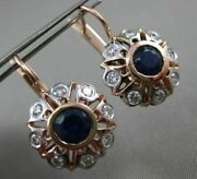 Antique Large 2.83ct Diamond And Aaa Sapphire 14kt Two Tone Gold Hanging Earrings