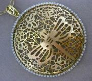 Estate Extra Large .75ct Diamond 14kt Two Tone Gold Butterfly Filigree Pendant