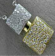 Estate Large .88ct Diamond 18kt Two Tone Gold Double Square Heart Love Necklace
