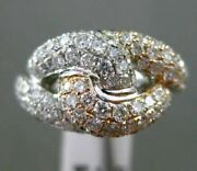 Estate Wide 1.78ct Diamond 14kt White And Rose Gold 3d Infinity Love Knot Ring