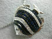 Large 1.54ct Diamond And Aaa Sapphire 18kt White Gold 3d Happy Lucky Fish Pendant
