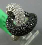 Estate Extra Large 2.33ct Diamond 18k White And Black Gold Love Knot Infinity Ring