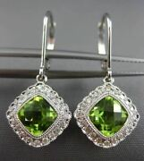 Estate 1.92ct Diamond And Peridot 14k White Gold Square Leverback Hanging Earrings