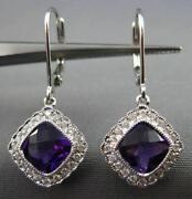 Estate 1.92ct Diamond And Amethyst 14kt White Gold 3d Leverback Hanging Earrings