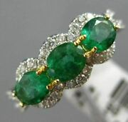 Estate 1.44ct Diamond And Aaa Emerald 18kt 2 Tone Gold 3d Past Present Future Ring