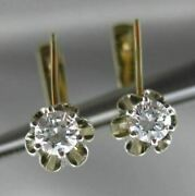 Antique .60ct Diamond 14k White And Yellow Gold 3d Solitaire Leverback Earrings