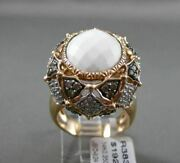 Antique Large .35ct Diamond And Aaa Agate 14kt White And Rose Gold 3d Filigree Ring