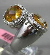 Estate Extra Large .45ct Diamonds And Citrine 14kt White Gold Double Halo Fun Ring