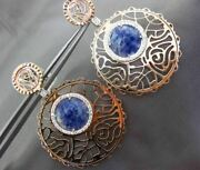 Estate Large 1.0ct Diamond And Sodalite 14kt White And Rose Gold Floating Earrings