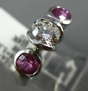 Estate 1.72ct Diamond And Aaa Pink Sapphire 14k White Gold 3 Stone Engagement Ring