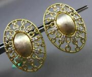 Estate Large .35ct Diamond 18kt Yellow Gold 3d Oval Handcrafted Clip On Earrings