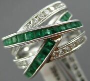 Estate Large 2.01ct Diamond And Aaa Emerald 14kt White Gold Criss Cross Love Ring