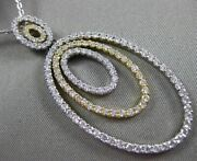 Estate Large 2.21ct Diamond 14k White And Yellow Gold Triple Oval Floating Pendant
