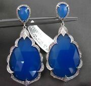 Estate Massive 32.53ct Diamond And Blue Agate 14kt White Gold 3d Hanging Earrings