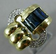 Estate Large 1.55ct Diamond And Aaa Sapphire 14kt Two Tone Gold 3d Love Knot Ring