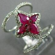 Estate Large 1.95ct Diamond And Aaa Ruby 14kt White Gold Flower Infinity Love Ring