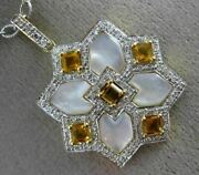 Estate 1.40ct Diamond And Aaa Citrine 14kt Gold Mother Of Pearl Star Pendant Chain