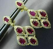 Estate Large 3.6ct Diamond And Aaa Ruby 14k Yellow Gold Tear Drop Hanging Earrings
