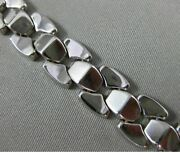 Estate Wide And Long 14kt White Gold 3d Pyramid Italian Link Bracelet 11mm Wide