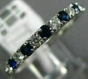 Estate .56ct Diamond And Aaa Sapphire 18kt White Gold 3d Wedding Anniversary Ring