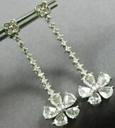 Estate Large 2.54ct Diamond And Aaa White Sapphire 18kt White Gold Flower Earrings