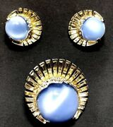 Mb Boucher Baguettes And Blue Moonstone Man In The Moon Pin And Earrings Set
