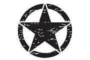 Reflective Us Military Style Distressed Star Decal 13 Black