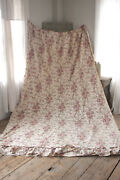 Antique Curtain Chintz Linen And Cotton Fabric Woodblock Printed C1840 Indienne