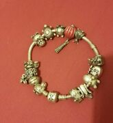 Authentic Sterling Silver Pandora Bracelet With 14 Charms Animals 7