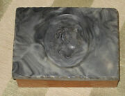 Vintage Faux Marble Incolay Lid Wood Trinket Box Alexander The Great Cameo