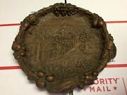 Vintage Antique Beautiful Hand Carved Wooden Plate Farm Barn Horses Cows B3