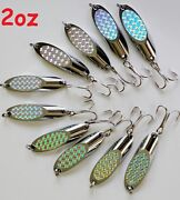 10 Pieces Casting 2oz Kast Spoons Silver Saltwater Fishing Lures