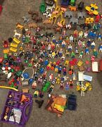 Playmobil Geobra Figures Large Lot Almost 340 Vtg People Kids And Parts