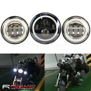 7 Led Headlight Projector With 1 Pair 4.5 Fog Light For Harley Road King Flhr