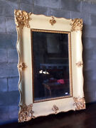 Antique And Elegant French Lacquered Mirror - Restored In Progress