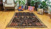 Beauiful Antique 1930and039s Natural Dye Wool Pile Armenian Area Fragment Rug 4x5ft