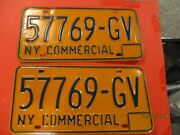 Vintage- New York State License Plates 1974-85 Commercial-pair- Used- 57769-gv