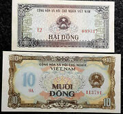 1980 Viet Nam 2, And 10 Dong Banknote,2pcs Rare Unc +free 1 B.note D6456
